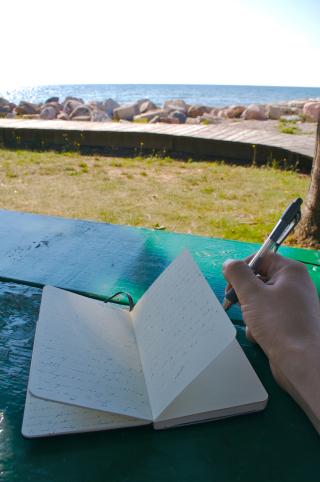 Writing beach
